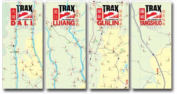 Dali Lijiang Yangshuo Guilin maps